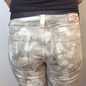 True Religion beige tie dye jeans, size 28